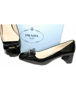 Prada Kiltie Low Heel Patent Leather Pumps Gold Logo Shoes 37 Fringes - $269.00