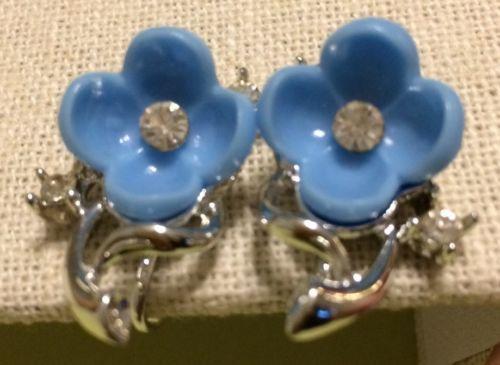 57ed22644 Vintage Lisner Blue Floral Flower Screw Back and 50 similar items. 12