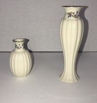 Lenox Vases Floral Print Off White And Various Coloring Set Of Two 2 - $27.72