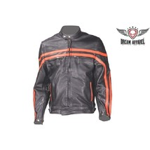 Men's Naked Leather Motorcycle Jacket With Orange Stripes SMALL or MEDIU... - $104.99