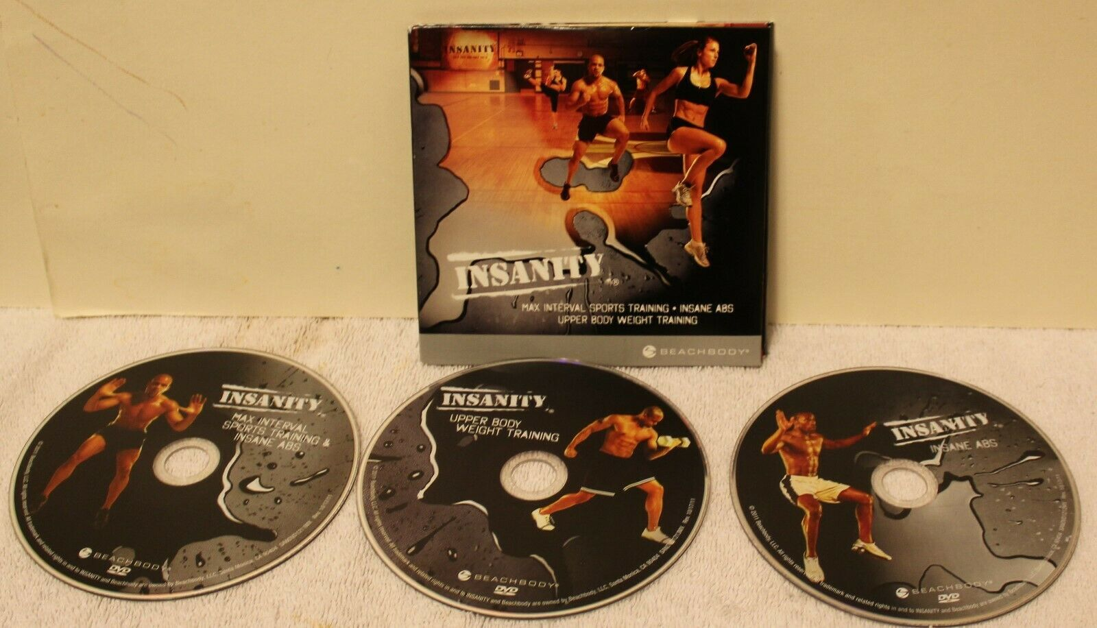 Insanity Max Interval Sports Training Insane Abs Upper Body weight train 3 DVDs