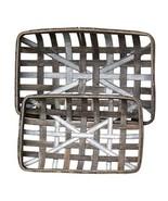 2/Set, Gray Wash Rectangle Tobacco Baskets w/Metal Strips - $54.00