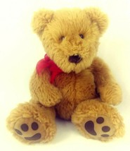 "Russ Berrie Classic Cubbs Bear 16"" Shaggy Plush Honey Brown Red Bow Vintage - $18.33"