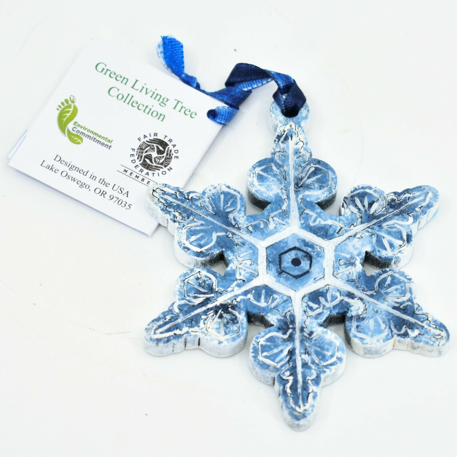 Handcrafted Winter Snowflake Snow Recycled Wood Craquelure Painted Ornament