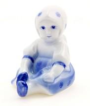 Vintage Zsolnay Sitting Girl Figurine Cobalt - $20.29