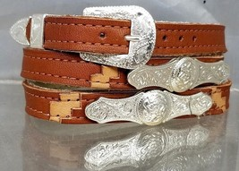SouthWest HATBAND Saddle+Tan LEATHER with Silver BAR and OVAL CONCHOS Ha... - $26.06
