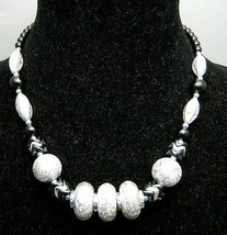 VTG 1980's Styled Black and Silver Foil Beaded Necklace Choker - $9.90