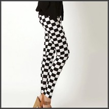 Checkered Black and White Skin Tight Stretch Pants Leggings Sized to Fit You image 1