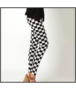 Checkered Black and White Skin Tight Stretch Pants Leggings Sized to Fit... - $48.95