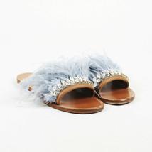 Miu Miu Blue Brown Feather Slide Sandals SZ 38.5 - $230.00