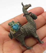 PERU 925 Silver - Vintage Antique  Carrier Llama Turquoise Detail Figure... - $167.11