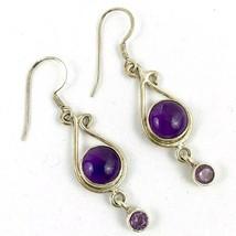 925 Sterling Silver Vintage Amethyst Round Drop Dangling Pierced Earrings - $39.77