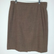 Anne Klein Womens Pencil Knee Length Skirt Brown Zip Size 14P Work Caree... - $22.74