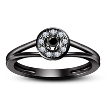 Black Rhodium Plated Pure 925 Silver Round Cut CZ Solitaire With Accents Ring - £58.00 GBP