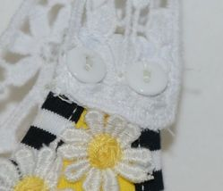 Rare Editions Girls Cotton Lace Sleeves Back Yellow Black Flowers Size 5 image 3