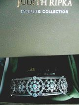 Judith Ripka Sterling Silver Diamonique Floral Hinged Cuff Bracelet AVG JR Box image 8