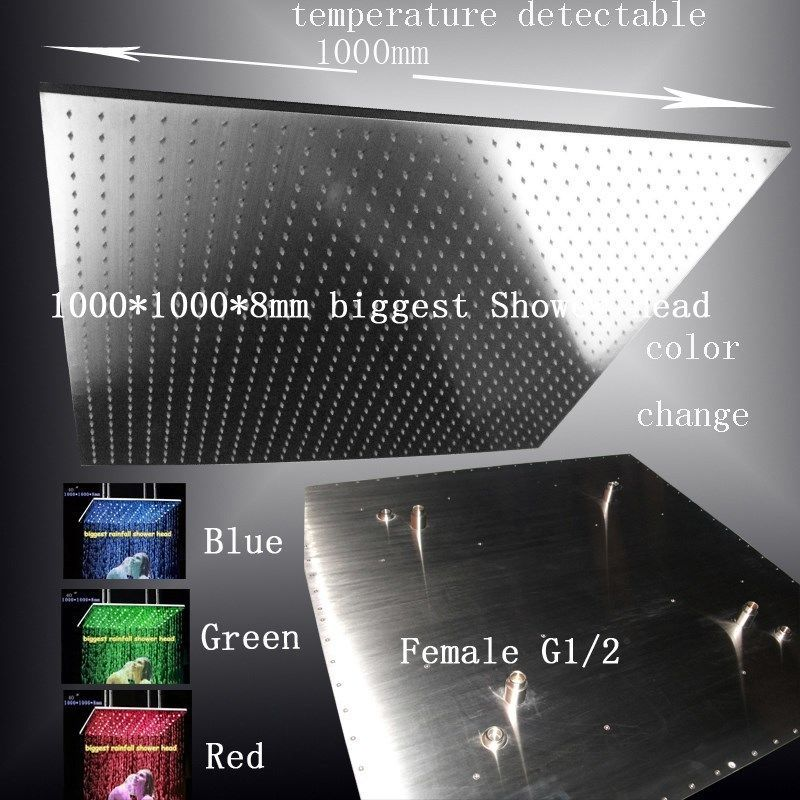 "Primary image for 40"" LED Multicolor Ceiling Mount Showerhead, Brushed Stainless Steel - Square"