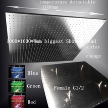 "40"" LED Multicolor Ceiling Mount Showerhead, Brushed Stainless Steel - Square - $1,425.59"