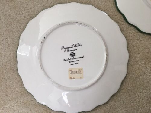 3 Raymond Waites Cornucopia Certified Intl Green Rim Fruit Dinner Dish Plates image 7