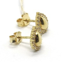 BOUCLES D'OREILLES OR JAUNE 18K, GOUTTES AVEC ZIRCONIA CUBES, MADE IN ITALY, 750 image 2