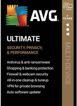 AVG Ultimate 2021 Internet Security + TuneUp + VPN 10 Devices 2 Years Gl... - $20.00