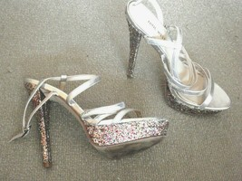 Nine West Warm Candy 8M high heel shoes silver platform sparkle - party club - $5.23