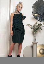 80s vintage black bow party dress - $51.30