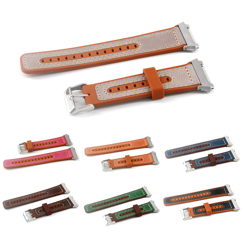 22mm Watch Band Genuine Leather Plus Silicone Starp Replacement for Fitbit Blaze
