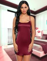 Womens Satin Babydoll Lace Side Slit Nightgown Set image 4