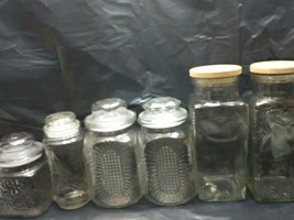 Lot of 6 Vintage Square Apothecary Clear Glass Jar With LID, Storage, Fa... - $163.99