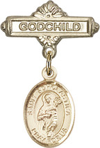14K Gold Baby Badge with St. Scholastica Charm Pin 1 X 5/8 inch - $425.00