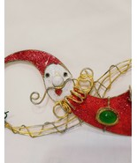 "Santa Claus Metal Ornament 8""  Holding Christmas Curls Glitter Whimsical... - $15.99"
