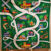 "Teddy Bear Car Mat Map Fabric panel Playroom Cranston VIP Green 44"" - $15.00"