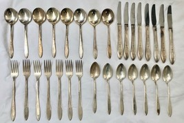 Set of 30: Antique Wm. A. Rogers 1934 Debutante Silverplate Flatware Art Deco - $149.99