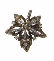 Vintage Crown Trifari Maple Leaf Rhinestone Brooch - $24.74