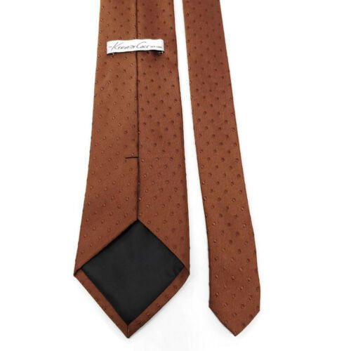 Kenneth Cole Brown On Brown Polka Dots Silk Tie Necktie image 3