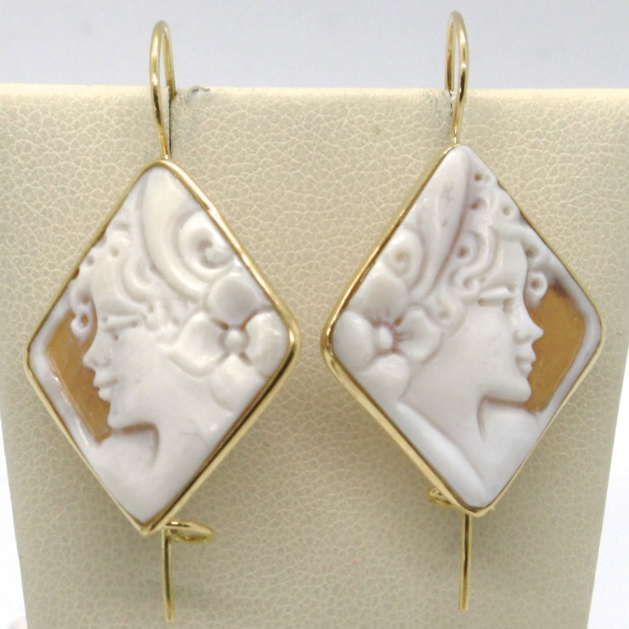 18K YELLOW GOLD PENDANT HOOK EARRINGS, CAMEO FLOWER LADY, HANDMADE IN ITALY