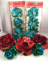 Vintage Mid Century Modern Christmas Creations Ornaments Blue Red flower... - $24.74
