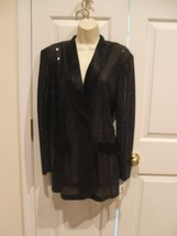 nwt frederick's of hollywood black sequin satin trim evening jacket size 7/8 - $39.59