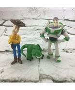Disney Pixar Toy Story Figures Lot Of 3 Woody Buzz Lighteryear Rex Cake ... - $14.84