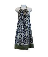 Women's American Eagle Halter Blue Paisley Design With Green Trim Sz 8 D... - $9.50