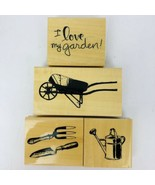 Anita's I Love My Garden Rubber Stamp Set of 4 Wheelbarrow Watering Can ... - $29.69