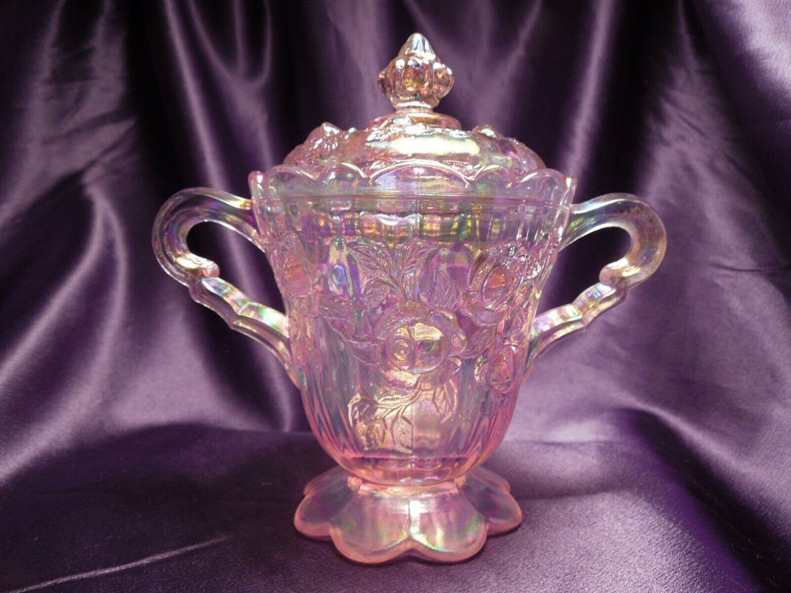 Primary image for Fenton Iridescent Pink Lidded Sugar Bowl Rose Detailed Glass Art