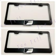 2X 3D F Sport Lexus Emblem Black Stainless Steel License Plate Frame W/Caps - $37.13