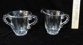 Vintage Clear Glass Creamer & Sugar Bowl Candle... - $8.90
