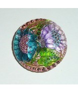 "Stunning Lacy Glass Hand Painted Flowers Button - 1-1/16"" Blue & Purple ... - $19.99"