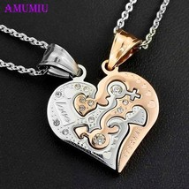 Beautiful, Couples, Stainless Steel Two Piece Interlocking Heart Pendant... - $16.99