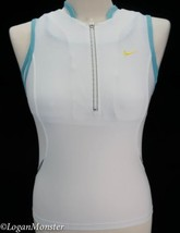 Nike XS Extra Small White Blue Attached Sports Bra Technical 1/4 Zip Tank - $25.00