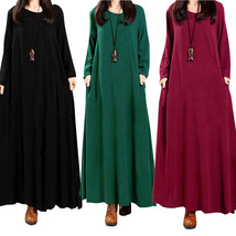 Women Maxi Dress National Button Long Sleeve Streetwear Casual Loose Lon... - $27.99