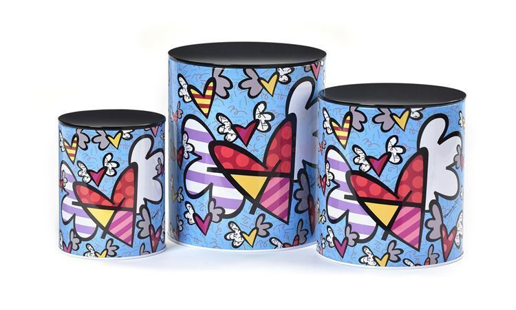 Romero Britto Set of 3 - Nested Metal Canisters - Flying Hearts Design